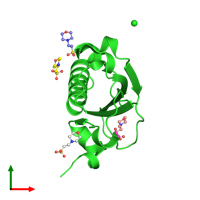 PDB 1ufy coloured by chain and viewed from the top.