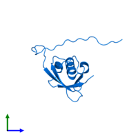 PDB 1uh6 contains 1 copy of Ubiquitin-like protein 5 in assembly 1. This protein is highlighted and viewed from the front.