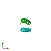 PDB 1unt coloured by chain and viewed from the top.