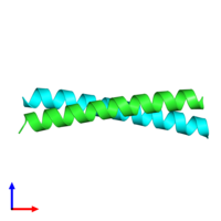 PDB 1unw coloured by chain and viewed from the side.