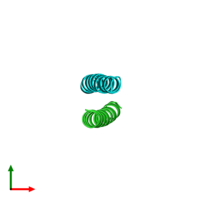 PDB 1unx coloured by chain and viewed from the top.