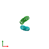 PDB 1uny coloured by chain and viewed from the top.