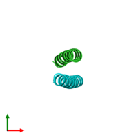 PDB 1uo0 coloured by chain and viewed from the top.
