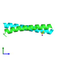 PDB 1uo5 coloured by chain and viewed from the side.