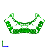 Dimeric assembly 1 of PDB entry 1usm coloured by chemically distinct molecules and viewed from the side.