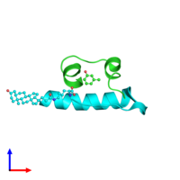PDB 1uz9 coloured by chain and viewed from the side.