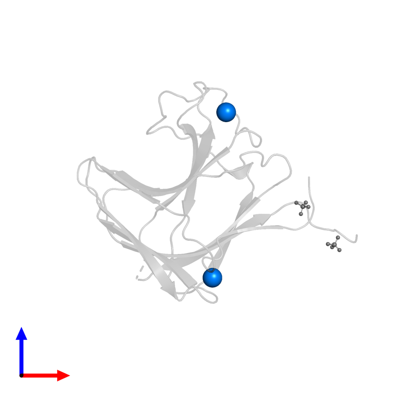 <div class='caption-body'>PDB entry 1v0a contains 2 copies of CALCIUM ION in assembly 1. This small molecule is highlighted and viewed from the front.</div>
