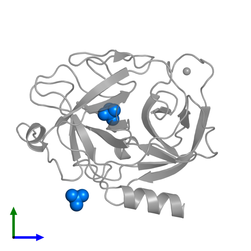 <div class='caption-body'>PDB entry 1v2s contains 2 copies of SULFATE ION in assembly 1. This small molecule is highlighted and viewed from the front.</div>