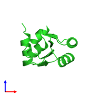 PDB 1w41 coloured by chain and viewed from the side.