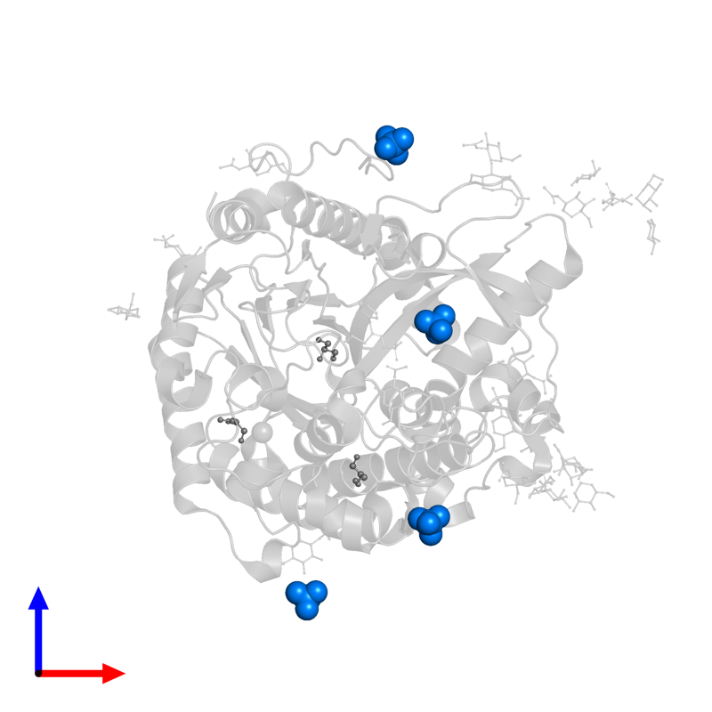 <div class='caption-body'>PDB entry 1w9d contains 4 copies of SULFATE ION in assembly 1. This small molecule is highlighted and viewed from the front.</div>