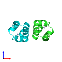 PDB 1wja coloured by chain and viewed from the side.