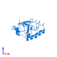 PDB 1wjr contains 1 copy of KIAA1617 protein in assembly 1. This protein is highlighted and viewed from the side.