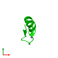 Monomeric assembly 1 of PDB entry 1xf7 coloured by chemically distinct molecules and viewed from the top.