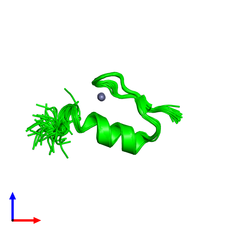 <div class='caption-body'><ul class ='image_legend_ul'>The deposited structure of PDB entry 1xf7 coloured by chemically distinct molecules and viewed from the front. The entry contains: <li class ='image_legend_li'>1 copy of Wilms' Tumor Protein</li><li class ='image_legend_li'>There is 1 non-polymeric molecule<ul class ='image_legend_ul'><li class ='image_legend_li'>1 copy of ZINC ION</li></ul></li></div>