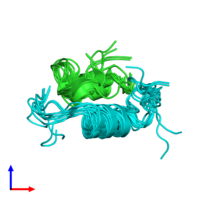PDB 1xgl coloured by chain and viewed from the side.