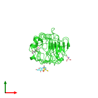 PDB 1xku coloured by chain and viewed from the top.