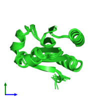 PDB 1xob coloured by chain and viewed from the side.