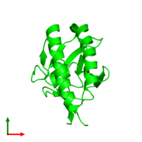 Monomeric assembly 4 of PDB entry 1yz1 coloured by chemically distinct molecules and viewed from the top.