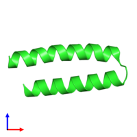 PDB 1yzm coloured by chain and viewed from the front.