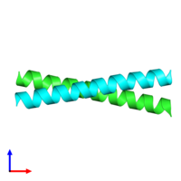 PDB 1zii coloured by chain and viewed from the side.