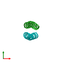 PDB 1zil coloured by chain and viewed from the top.