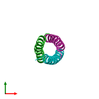 PDB 1zim coloured by chain and viewed from the top.