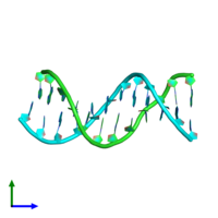 PDB 287d coloured by chain and viewed from the front.