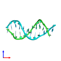 PDB 287d coloured by chain and viewed from the side.