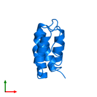 PDB 2abd contains 1 copy of Acyl-CoA-binding protein in assembly 1. This protein is highlighted and viewed from the top.