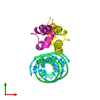PDB 2az0 coloured by chain and viewed from the top.
