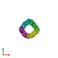 PDB 2b1f coloured by chain and viewed from the top.