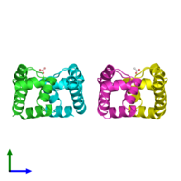 PDB 2b5a coloured by chain and viewed from the side.