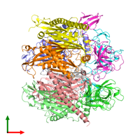 PDB 2ba1 coloured by chain and viewed from the top.