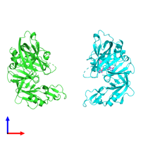 PDB 2bks coloured by chain and viewed from the front.