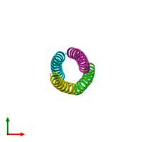 PDB 2bni coloured by chain and viewed from the top.