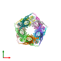 PDB 2c9t coloured by chain and viewed from the top.