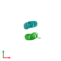 PDB 2cce coloured by chain and viewed from the top.