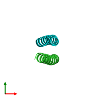 PDB 2ccf coloured by chain and viewed from the top.