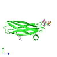 PDB 2ccv coloured by chain and viewed from the side.