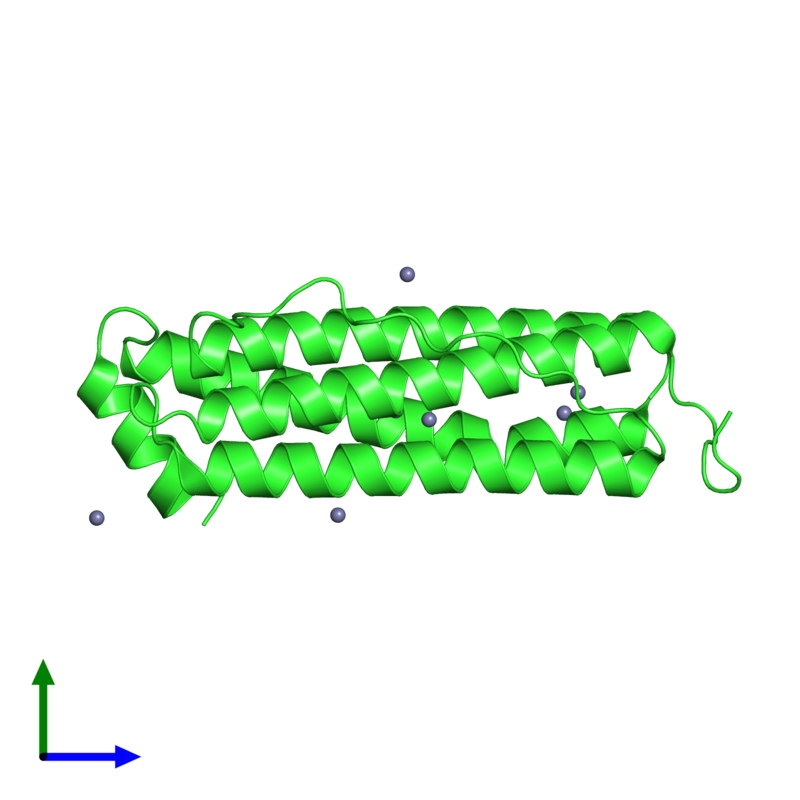 PDB 2cei coloured by chain and viewed from the side.