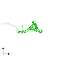 PDB 2cs1 coloured by chain and viewed from the side.