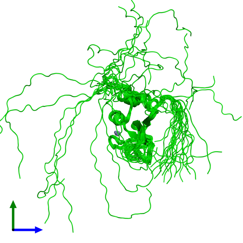 <div class='caption-body'><ul class ='image_legend_ul'>The deposited structure of PDB entry 2cs2 coloured by chemically distinct molecules and viewed from the front. The entry contains: <li class ='image_legend_li'>1 copy of Poly [ADP-ribose] polymerase-1</li><li class ='image_legend_li'>There is 1 non-polymeric molecule<ul class ='image_legend_ul'><li class ='image_legend_li'>1 copy of ZINC ION</li></ul></li></div>