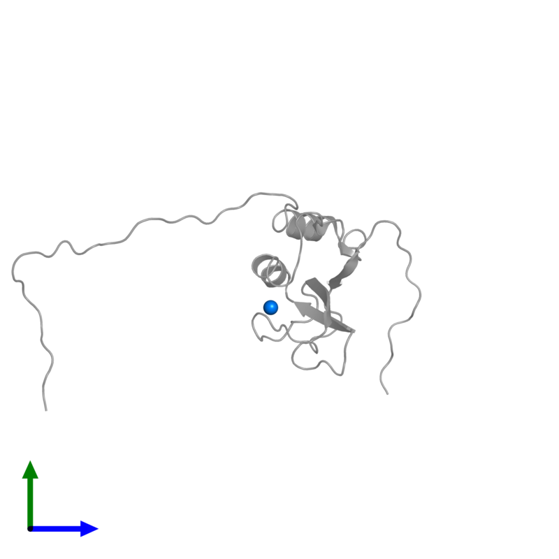 <div class='caption-body'>PDB entry 2cs2 contains 1 copy of ZINC ION in assembly 1. This small molecule is highlighted and viewed from the front.</div>