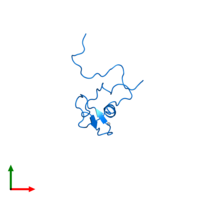 PDB 2ctu contains 1 copy of Zinc finger protein 483 in assembly 1. This protein is highlighted and viewed from the top.