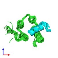 PDB 2czy coloured by chain and viewed from the side.