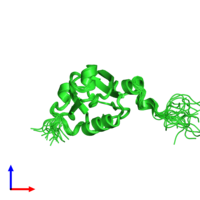 PDB 2daz coloured by chain and viewed from the side.