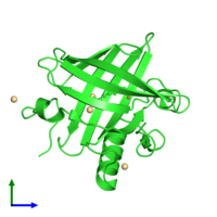 PDB 2dm5 coloured by chain and viewed from the front.