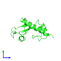 PDB 2dn4 coloured by chain and viewed from the side.