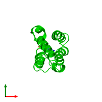 Monomeric assembly 1 of PDB entry 2dvv coloured by chemically distinct molecules and viewed from the top.
