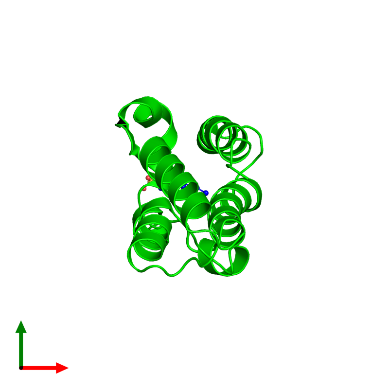 <div class='caption-body'><ul class ='image_legend_ul'> Monomeric assembly 1 of PDB entry 2dvv coloured by chemically distinct molecules and viewed from the top. This assembly contains:<li class ='image_legend_li'>One copy of Bromodomain-containing protein 2</li><li class ='image_legend_li'>One copy of 4-(2-HYDROXYETHYL)-1-PIPERAZINE ETHANESULFONIC ACID</li></ul></div>